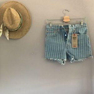 Striped Levi's Cutoff Shorts